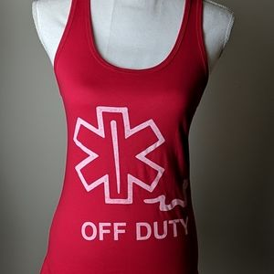 Off Duty Graphic Tank NWOT